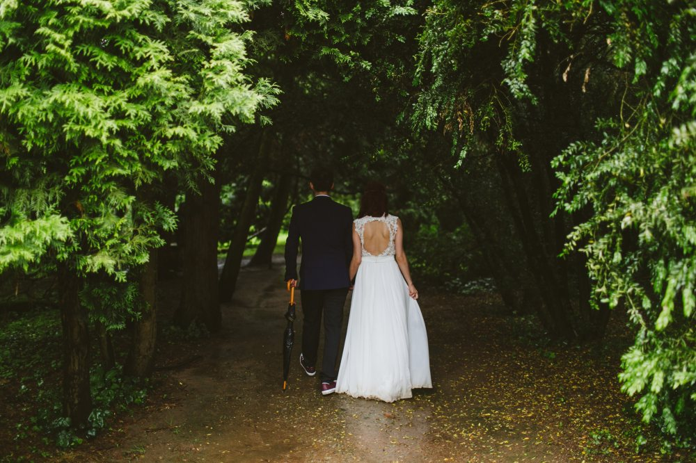 wedded couple in forest